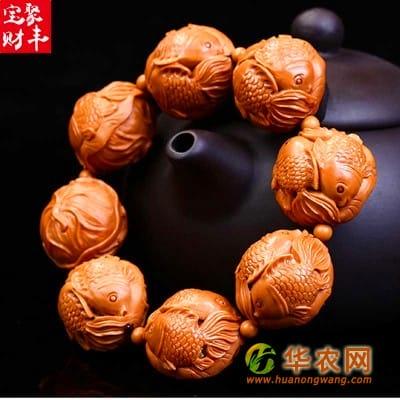 1-猴头核桃核雕-富贵金鱼